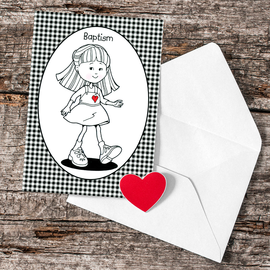 Black and White Baptism Girl Greeting Card