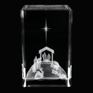Nativity Christmas Laser-Engraved Crystal Cube