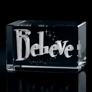 Believe Laser-Engraved Crystal Cube