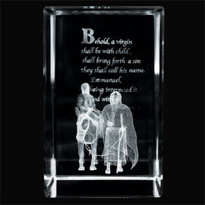 Journey to Bethlehem Laser-Engraved Crystal Cube