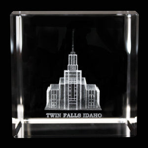 Temple Laser-Engraved Crystal Cube (Click to Select Temples)