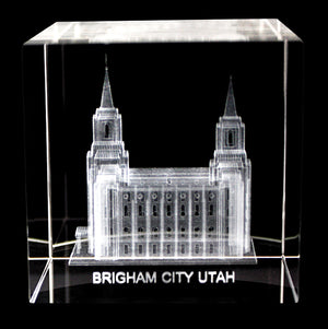 Brigham City Utah Laser-Engraved Crystal Cube