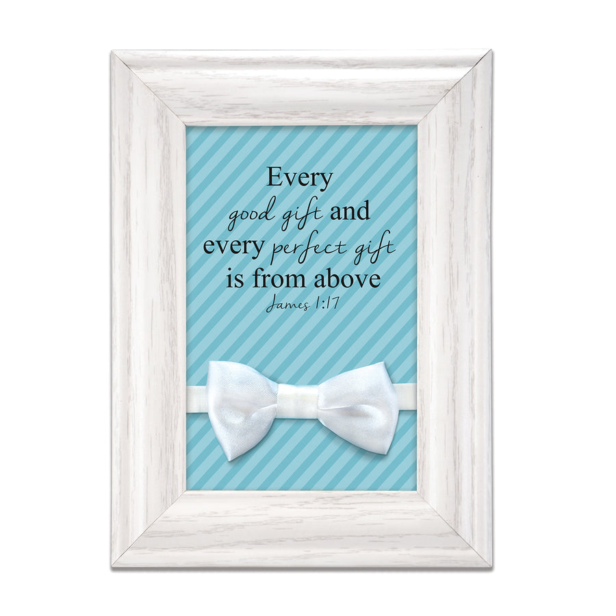 Baby Boy Blessing Gift - frame with keepsake white bow tie