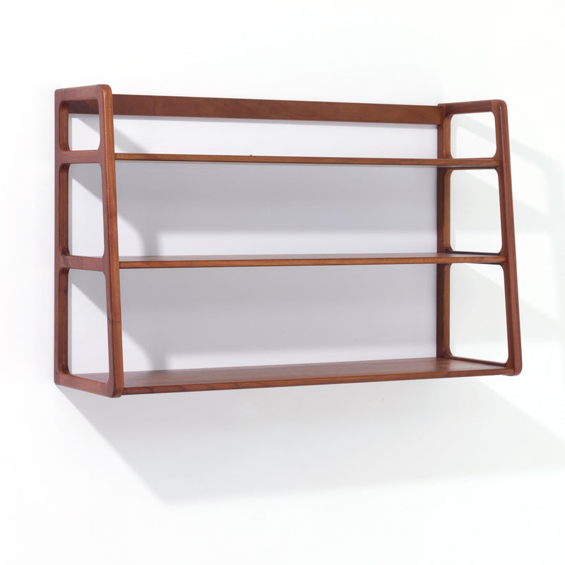 Agnes wall mounted shelving unit - walnut