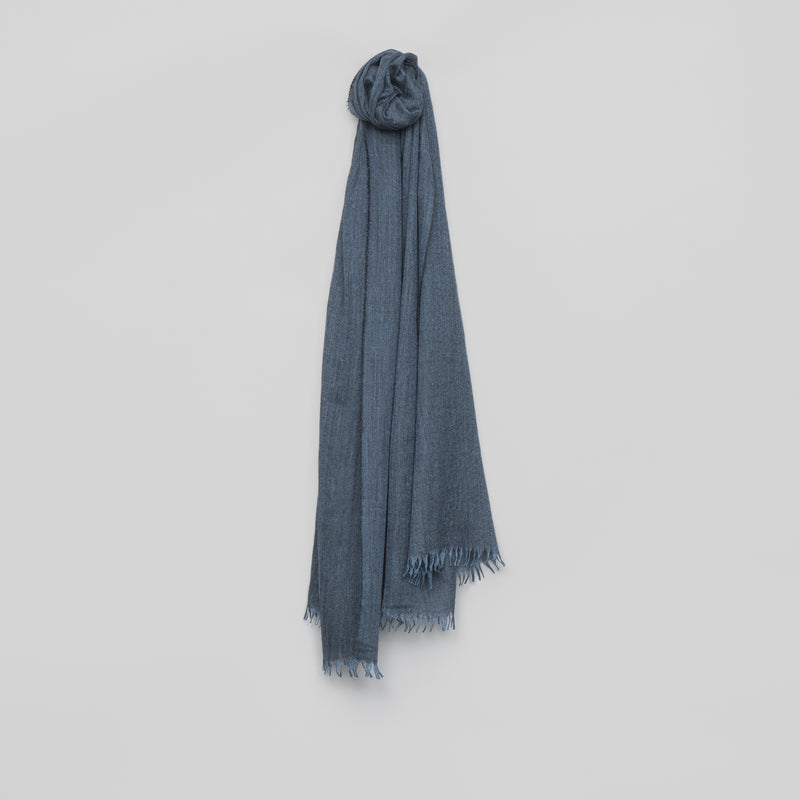 Staffa Plain Cashmere Silk Scarf – Denim