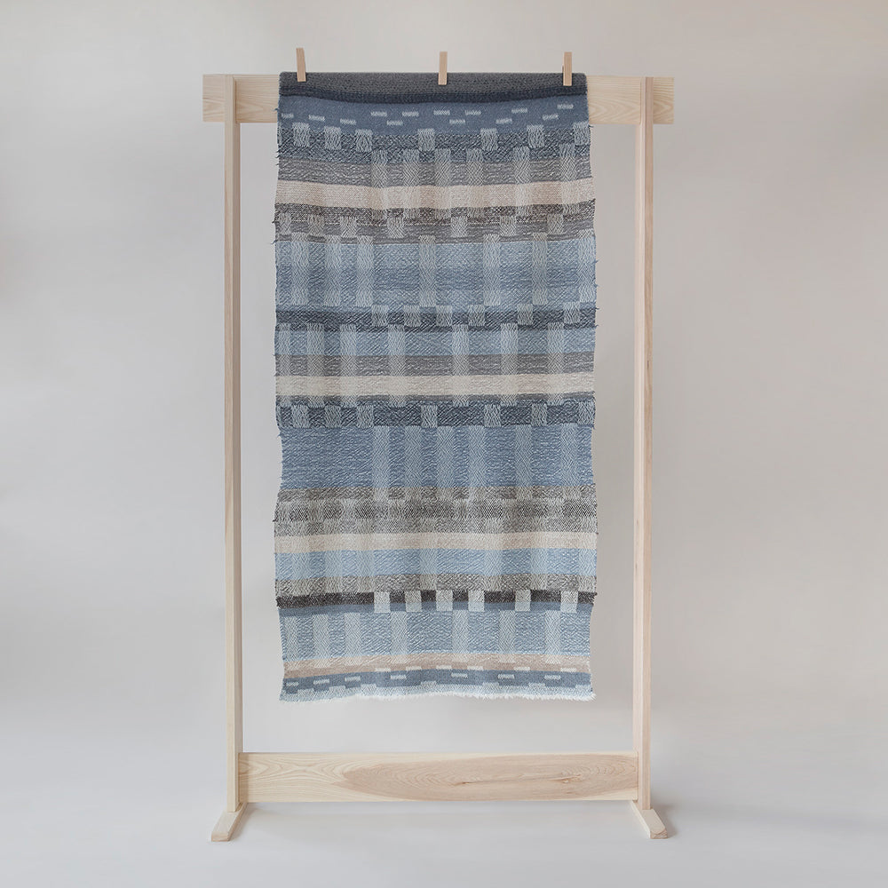 Felted indigo blue throw