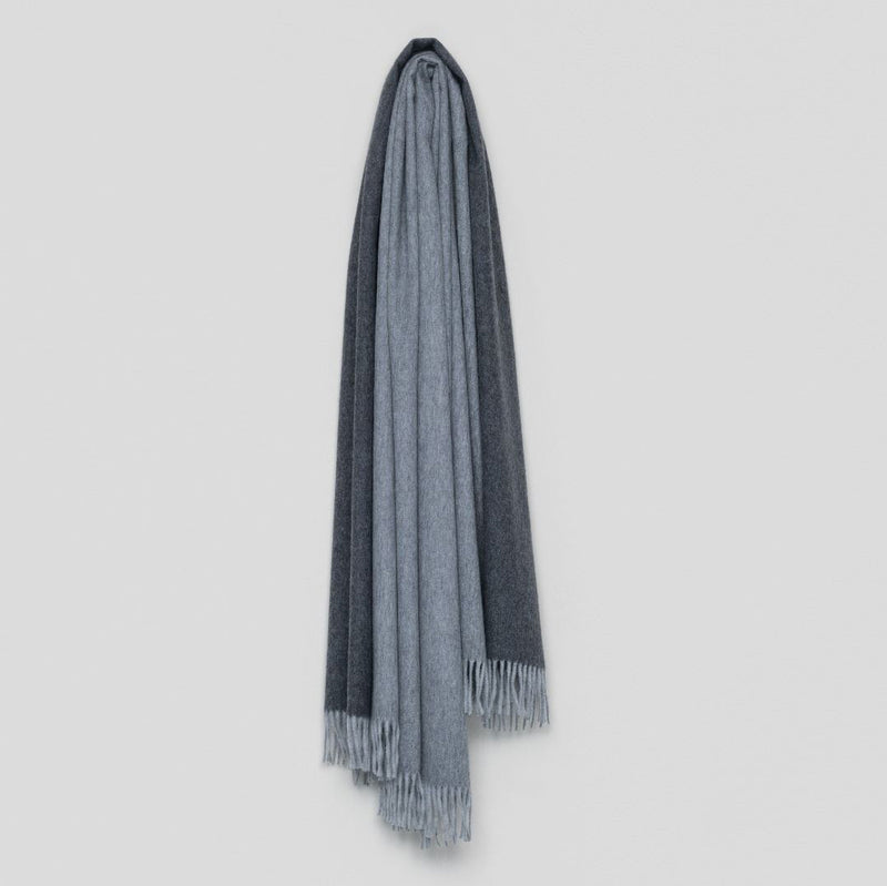 Jura Reversible Lambswool Angora Throw – Flannel Dark Grey
