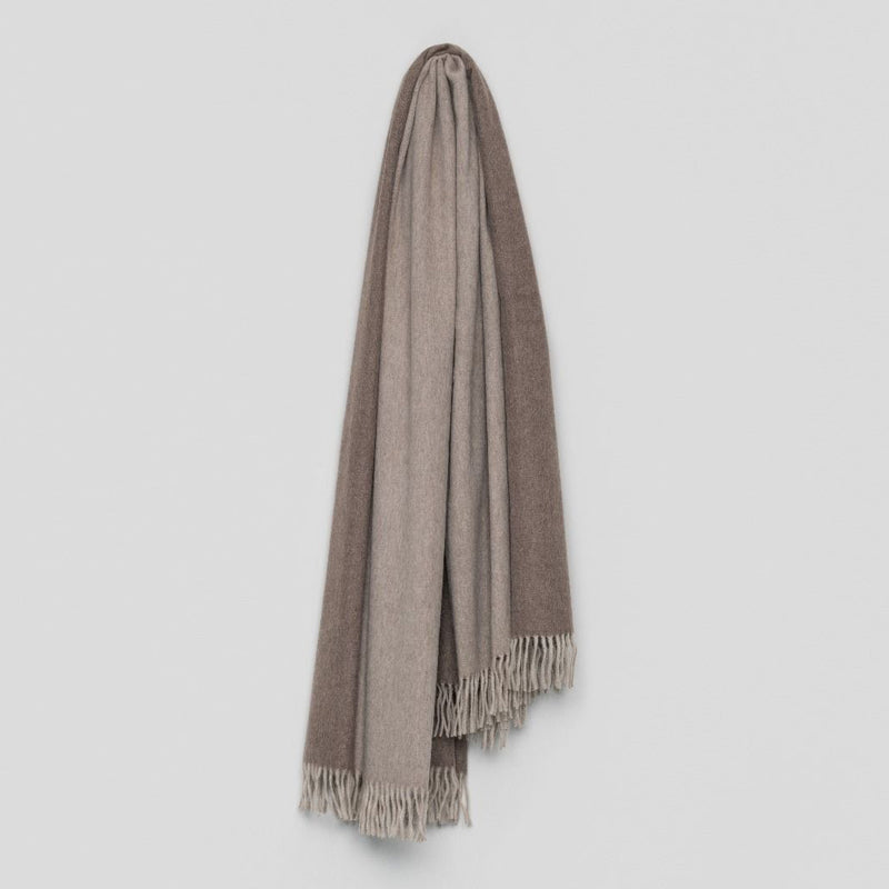 Jura Reversible Lambswool Angora Throw – Stone Mink