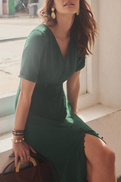 Molydress V Neck Buttons Design Dark Green Midi Dress
