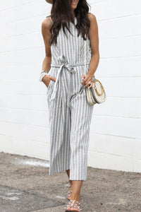 Molydress Striped Lace-up Grey One-piece Jumpsuit