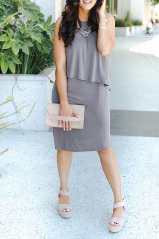 Molydress O Neck Grey Knee Length A Line Dress