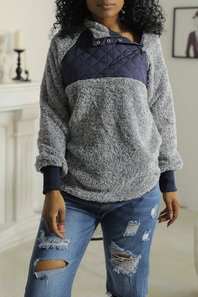 Molydress Stylish Patchwork Dark Blue Blending Hoodie