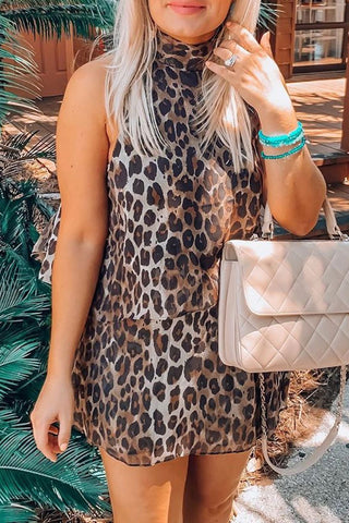 Molydress Leopard Printed Loose One-piece Romper