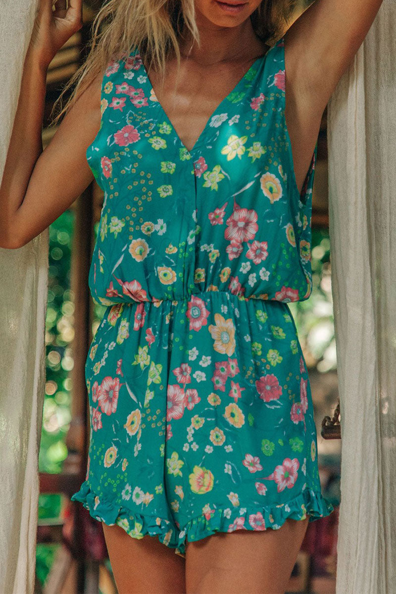 Molydress V Neck Floral Printed Green One-piece Romper