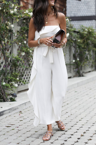 Molydress Off The Shoulder Ruffle Design White One-piece Jumpsuit(Nonelastic)