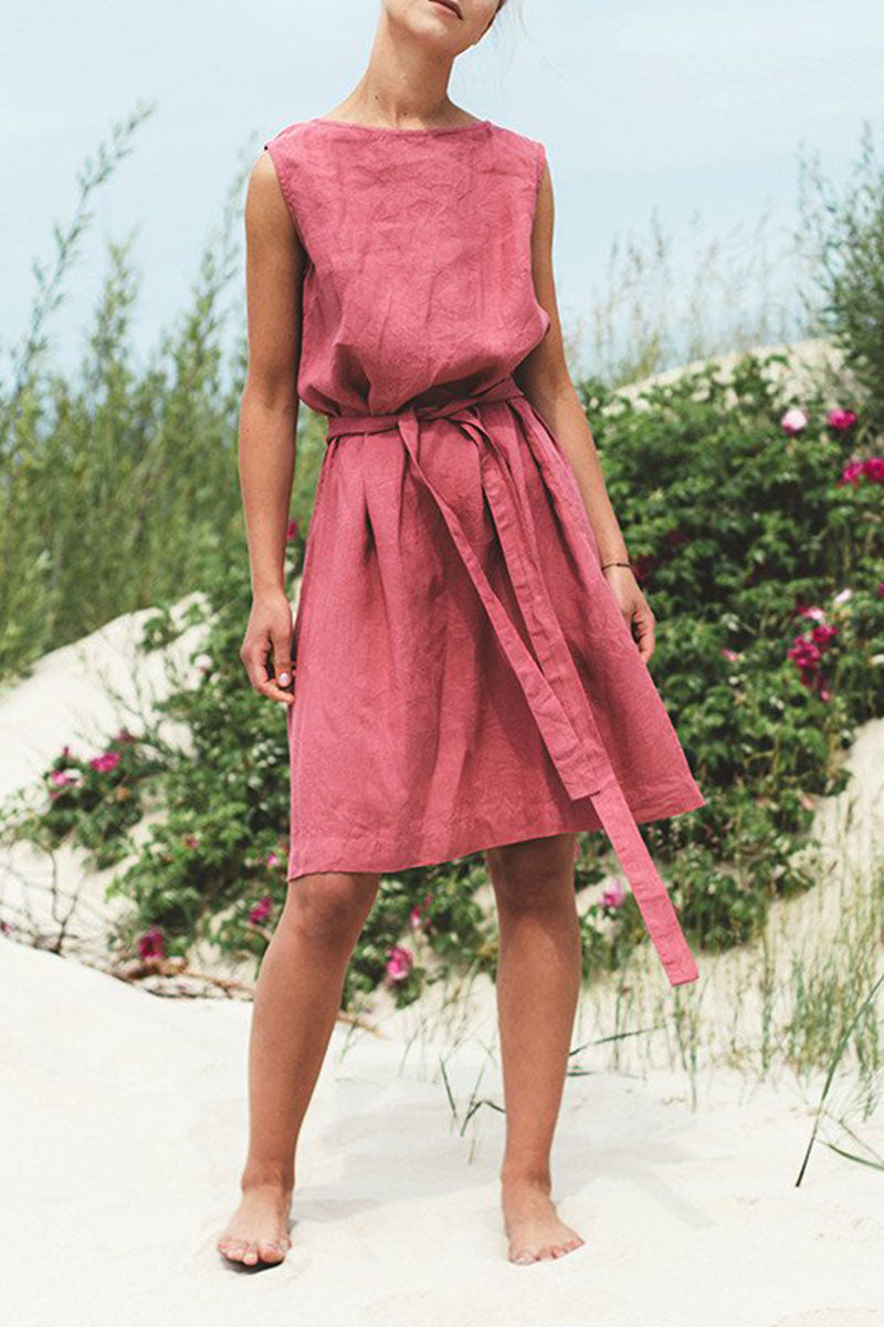 Molydress O Neck Lace-up Brick-red Knee Length A Line Dress