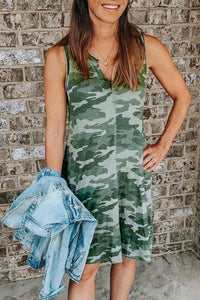 Molydress Camouflage Printed Midi Dress(With Elastic)