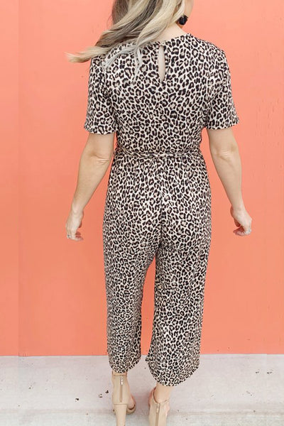 Molydress Waist Lace Up Leopard Printed One-piece Jumpsuit