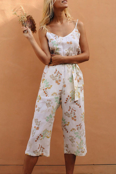 Molydress Floral Printed White One-piece Jumpsuit