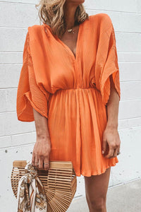 Molydress V Neck Loose Orange One-piece Romper