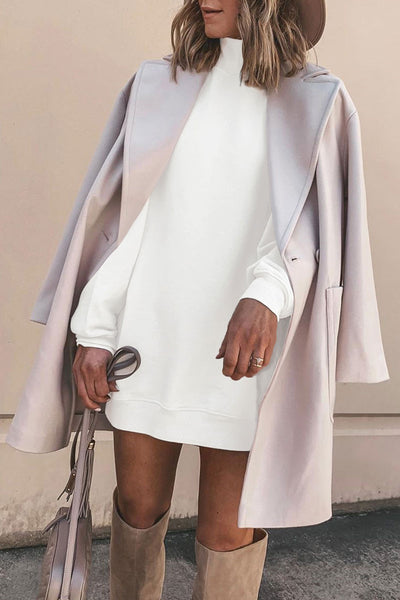 Molydress Turtleneck Basic White Mini Dress