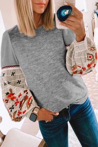 Molydress Printed Patchwork Dark Grey T-shirt