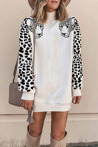 Molydress Turtleneck Leopard Mini Dress
