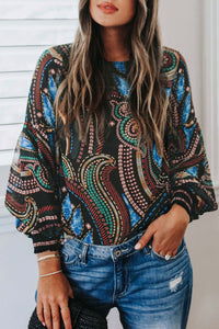 Molydress Printed Loose Black Blouse