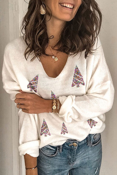 Molydress Christmas Day V Neck White Sweater