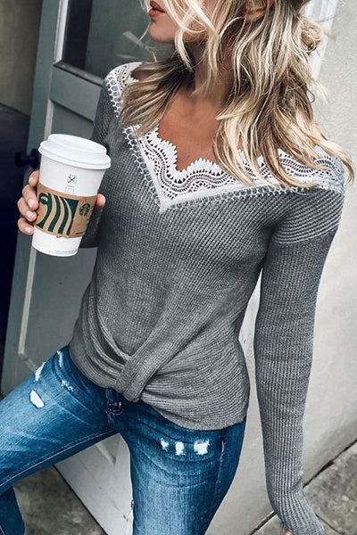 Molydress Lace Patchwork Grey Sweater