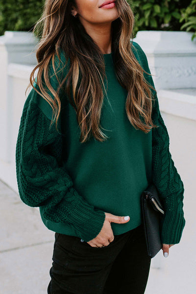 Molydress O Neck Basic Green Sweater