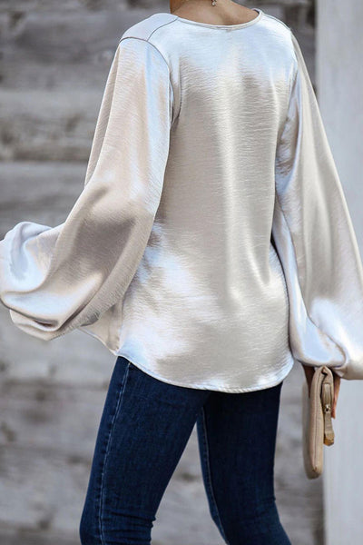Molydress V Neck Loose Silver Blouse