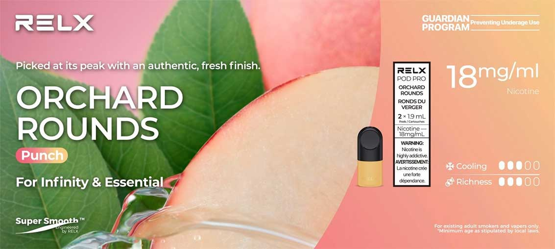 RELX Pod Pro - Orchard Rounds (Peach, 2 Pack)   Bay Vape Canada