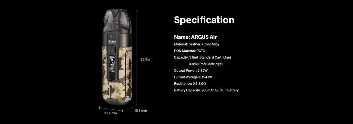 VOOPOO ARGUS AIR 25W Pod Kit | Bay Vape Canada