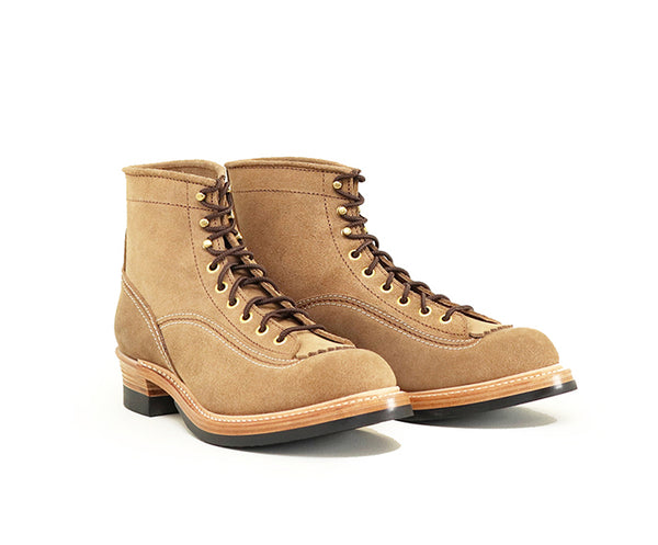 DONKEY PUNCHER BOOTS <br> HORWEEN LEATHER CXL NATURAL ROUGHOUT<br>