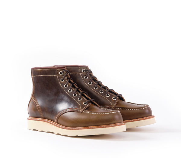MOC TOE BOOTS <br> HORWEEN LEATHER CXL DARK OLIVE