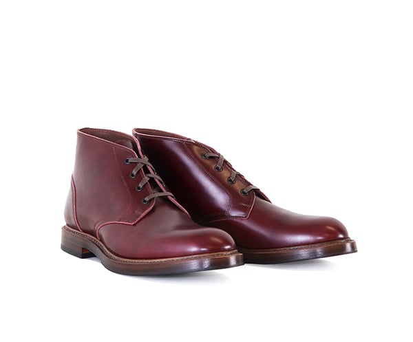 THE STEADFAST CHUKKA BOOTS <br> FRENCH CALFSKIN BURGUNDY