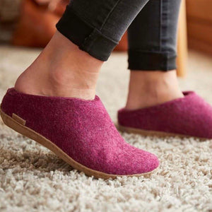 Cranberry Slipper with Leather Sole