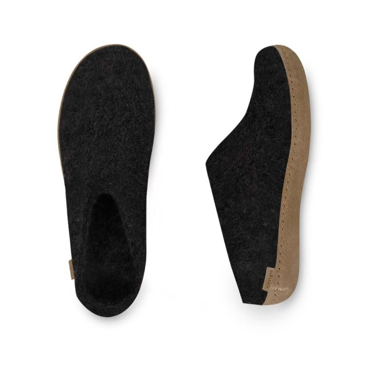 Charcoal Slipper with Leather Sole