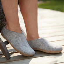 Grey Slipper with Leather Sole