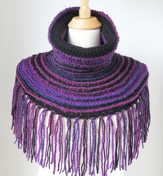 Cowl Neck Poncho In Purple And Black Unique Boho Style Wrap With