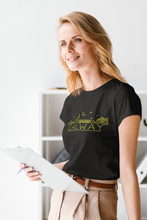 Load image into Gallery viewer, Galway Neon Skyline Yellow Print - Unisex Crew Neck T-Shirt, peeTeez