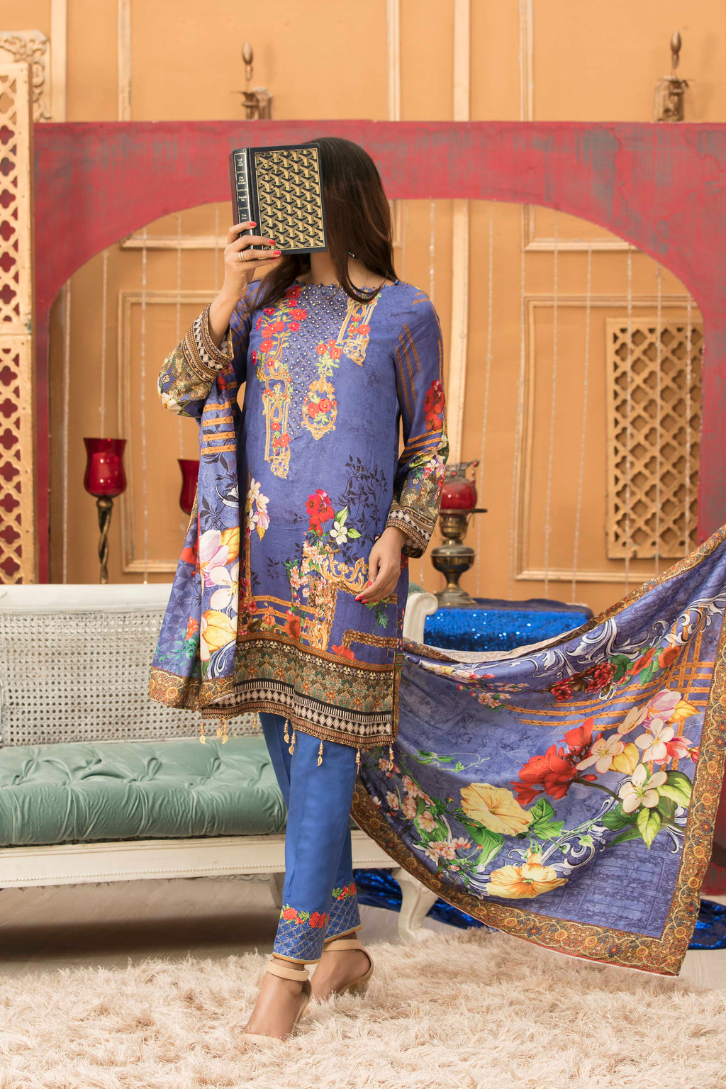 Zynah Premium Satin Lawn Collection ZS-02B