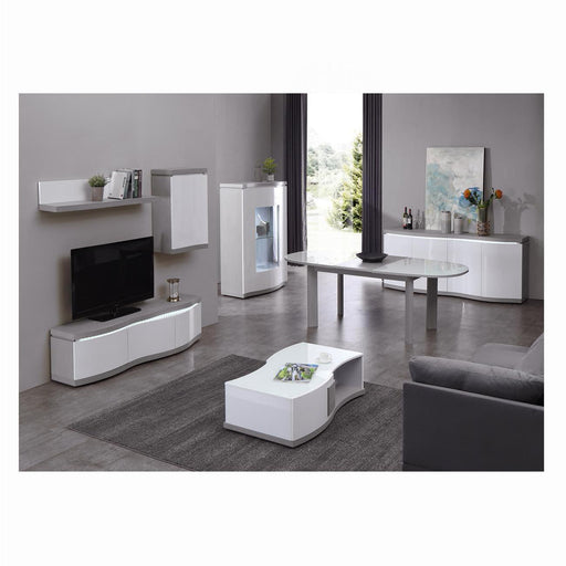 Meuble TV 10156BG - FLEX Gris & Blanc - Lot de 1