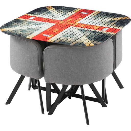 Ensemble Chaise + Table 13701NO - UNION JACK Noir - Lot de 1