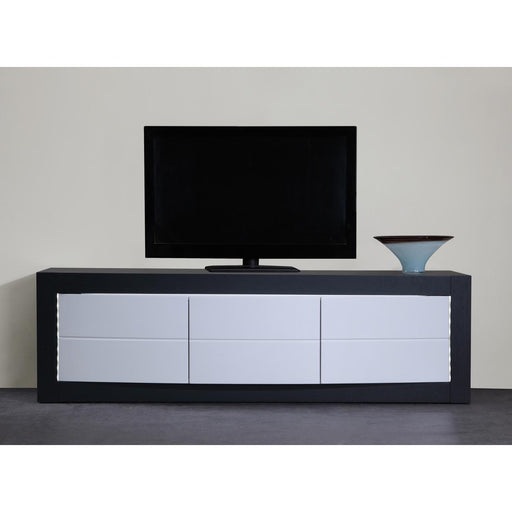 Meuble TV 10826GB - DOLBY MEUBLE TV 3 PORTES + LEDS 150 X 45 X 45 H Gris & Blanc - Lot de 1