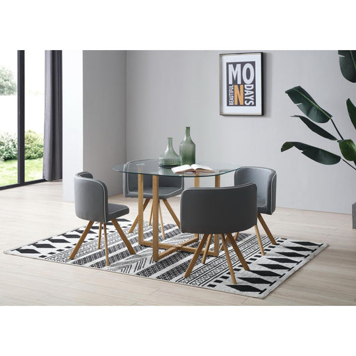 Ensemble Chaise + Table 13704GR - SCANDI Gris - Lot de 1
