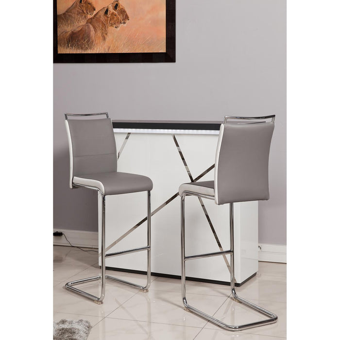 Tabouret de bar 14516GB - Dylan Gris & Blanc - Lot de 2