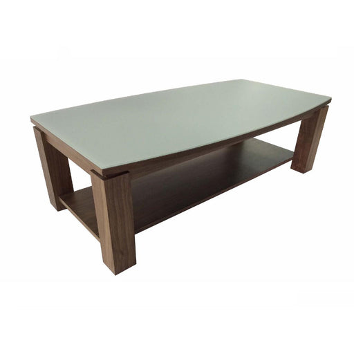 Table basse 10944NG - ASTONE TABLE BASSE NOYER VERRE GRIS MAT 120X65X38H Marron - Lot de 1