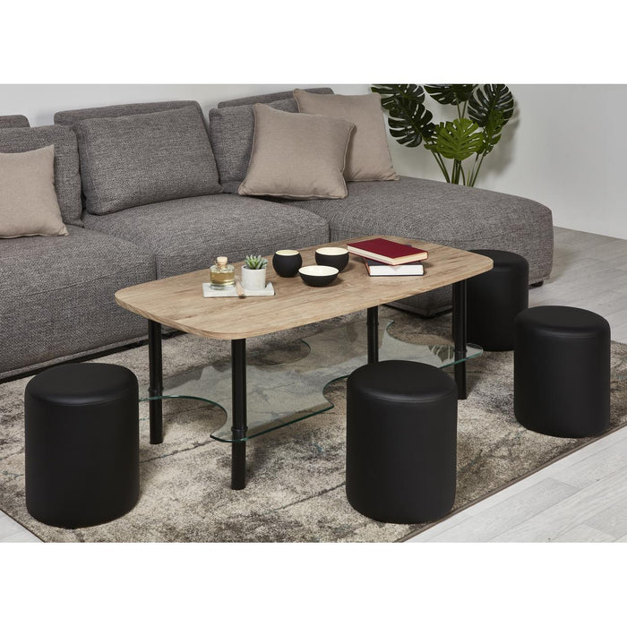 Ensemble Pouf + Table Basse 14850BS - Nalla Beige - Lot de 1